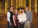 Connor's baptism with his parents and Godparents
