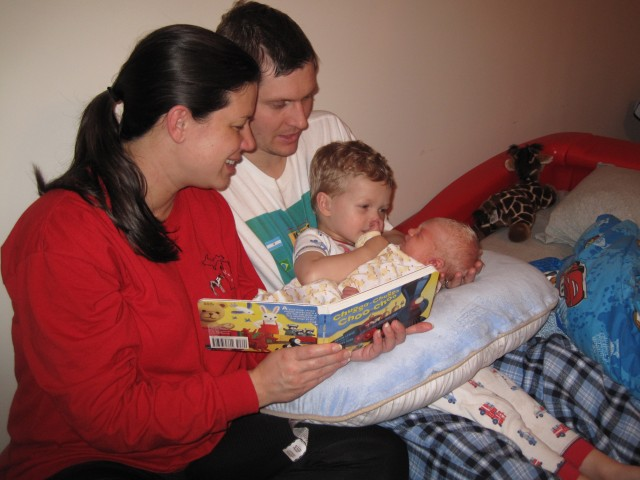 Connor's first book with the family