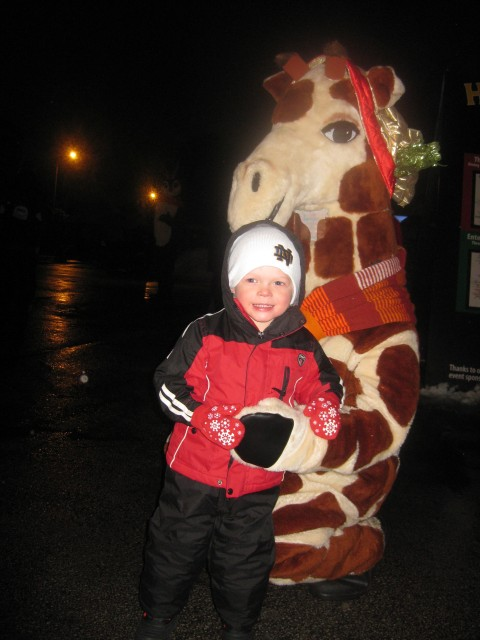 After they arrived we all went to the Zoo Lights where I met a giraffe