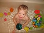My first bath in the big boy bathtub!