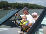 My first time on a boat and they let me drive!