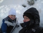 Collin and Mommy during Snowmaggedon